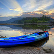 Blue Canoe At Sunset Poster