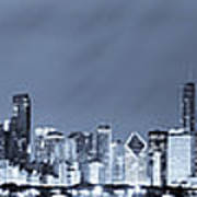 Blue Chicago Skyline Poster