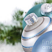 Blue Christmas Ornaments Poster