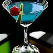Blue Cocktail With Cherry And Lime Poster