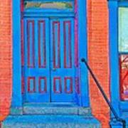 Blue Door On Red Brick Poster
