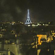 Blue Eiffel At Night Poster