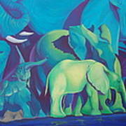 Blue Elephants Poster
