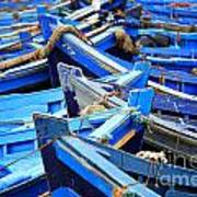Blue Fishing Boats Poster