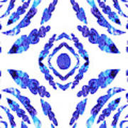 Blue Floral Pattern II Poster
