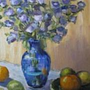 Blue Flowers And Fruit Poster