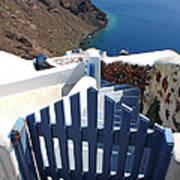 Blue Gate Oia Santorini Greek Islands Poster