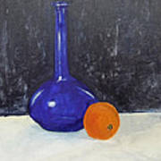 Blue Glass And Orange Poster by Peter Edward Green