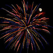 Blue Gold Pink And More - Fireworks And Moon Poster