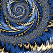 Blue Gold Spiral Abstract Poster