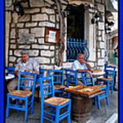 Blue Greek Taverna Poster