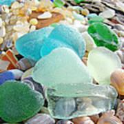 Blue Green Sea Glass Beach Coastal Seaglass Poster