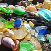 Blue Green Seaglass Art Prinst Agates Shells Poster