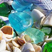 Blue Green Seaglass Shells Coastal Beach Poster by Baslee Troutman