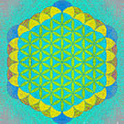 Blue Green Yellow Flower Of Life Poster
