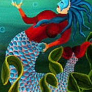 Blue Haired Mermaid Poster