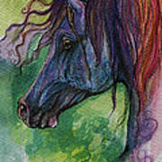 Blue Horse With Red Mane Poster