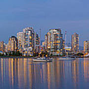 Blue Hour At False Creek Vancouver Bc Canada Poster