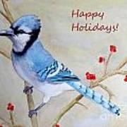 Blue Jay Happy Holidays Poster