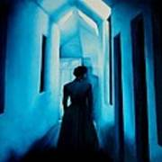 Blue Lady In The Hall Poster