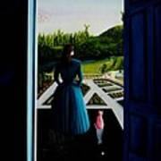 Blue Lady Thru The Door Poster