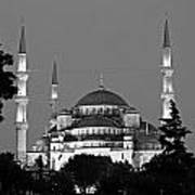 Blue Mosque In Black And White Poster
