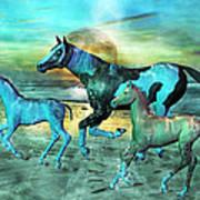 Blue Ocean Horses Poster by Betsy Knapp