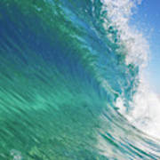 Blue Ocean Wave, View From In The Water Poster