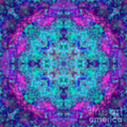 Blue Opal Rainbow Mandala Poster