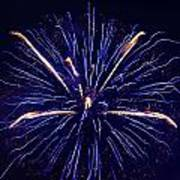 Blue Orange Fireworks Galveston Poster