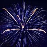 Blue Orange Fireworks Galveston Poster by Jason Brow