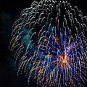 Blue Orange White Fireworks Galveston Poster