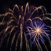 Blue Orange Yellow Fireworks Galveston Poster