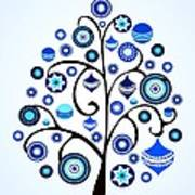 Blue Ornaments Poster