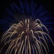 Blue Over Orange Fireworks Galveston Poster by Jason Brow