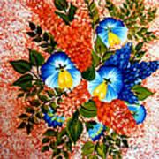 Blue Pansies Bouquet Poster