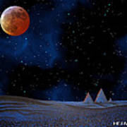 Blue Pyramids With Orange Moon Poster