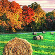 Blue Ridge - Fall Colors Autumn Colorful Trees And Hay Bales II Poster