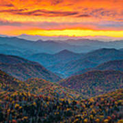 Blue Ridge Parkway Fall Sunset Landscape - Autumn Glory Poster by Dave Allen