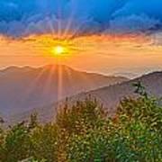 Blue Ridge Parkway Late Summer Appalachian Mountains Sunset West Poster