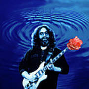 Blue Ripple From A Red Rose Poster