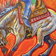 Blue Roan Reining Horse Spin Poster by Jenn Cunningham