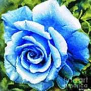Blue Rose With Brushstrokes Poster
