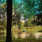 Blue Rowboat On Golden Pond Poster