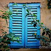 Blue Shuttered Window Poster
