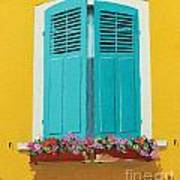 Blue Shutters And Flower Box Poster