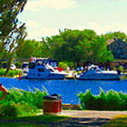 Blue Skies Boats And Bikes Montreal Summer Scene The Lachine Canal Seascape Art Carole Spandau Poster