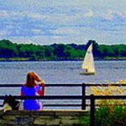 Blue Skies White Sails Drifting Blonde Girl And Collie Watch River Run Lachine Scenes Carole Spandau Poster