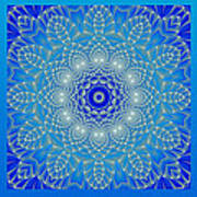 Blue Space Flower Poster