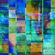 Blue Squares Abstract Art Poster